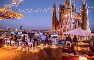 Rooftop vue sur la Sagrada Familia à Barcelone