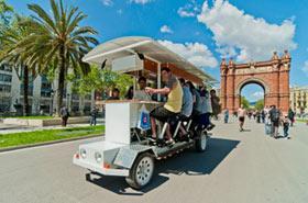 beer-bike activité Enterrement de Vie de Garçon barcelone